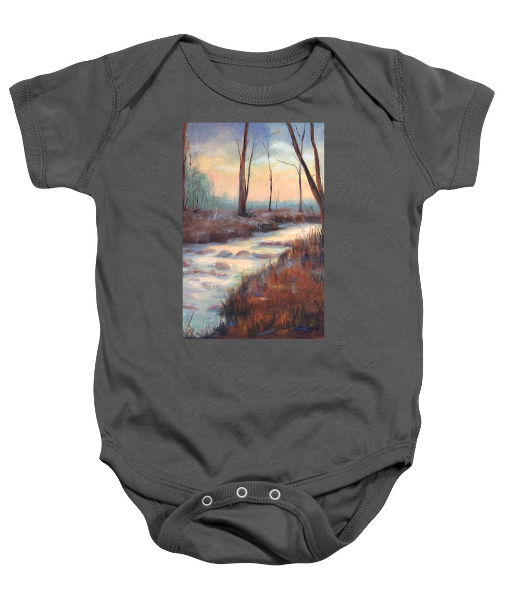 Creeks Baby Onesie featuring the painting Wolf Creek by Ginger Concepcion