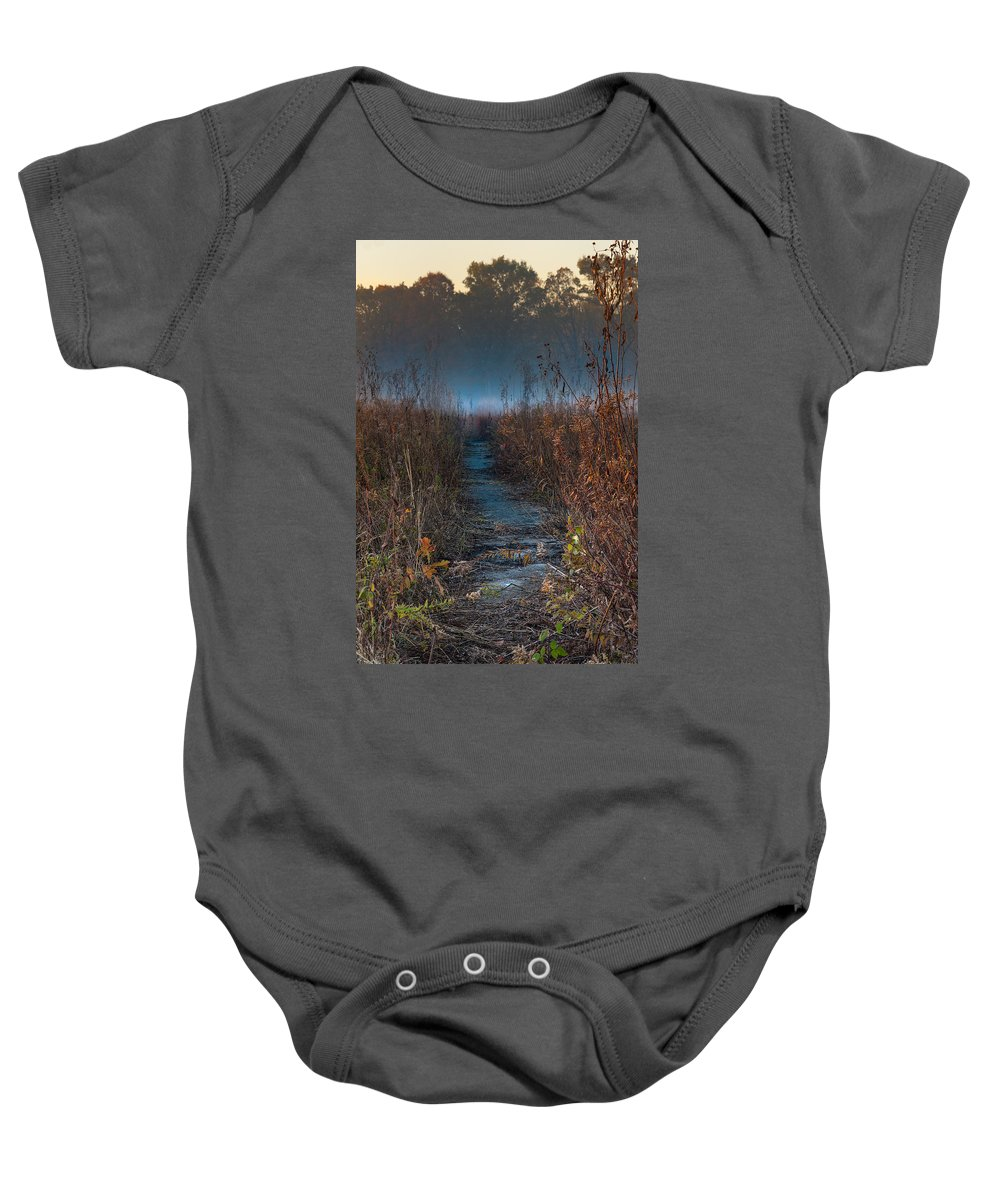 Road Baby Onesie featuring the photograph Wolf Road Prairie Trail by Steve Gadomski