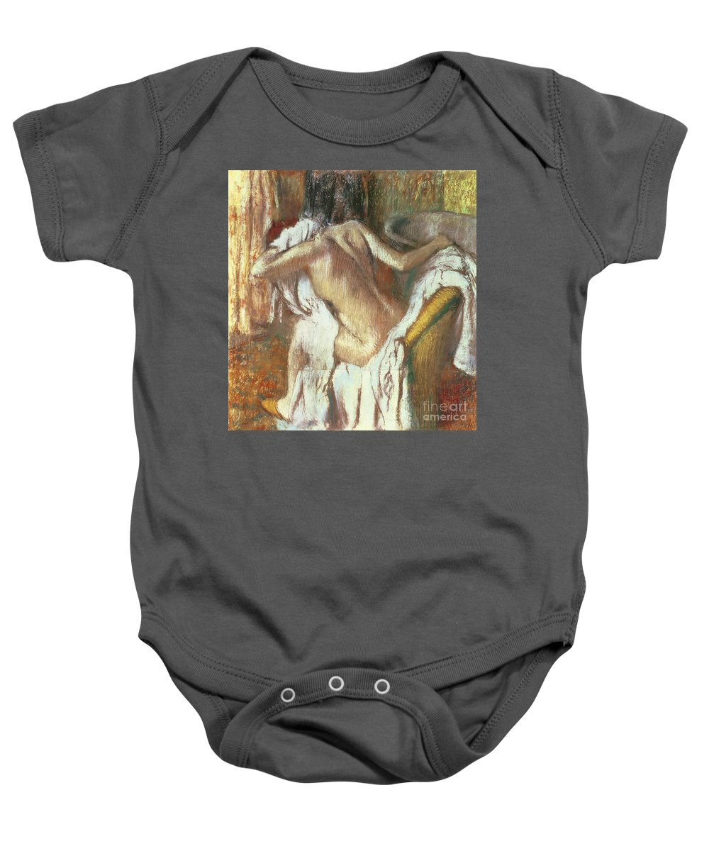 Woman Drying Herself Baby Onesie featuring the pastel Woman Drying Herself by Edgar Degas