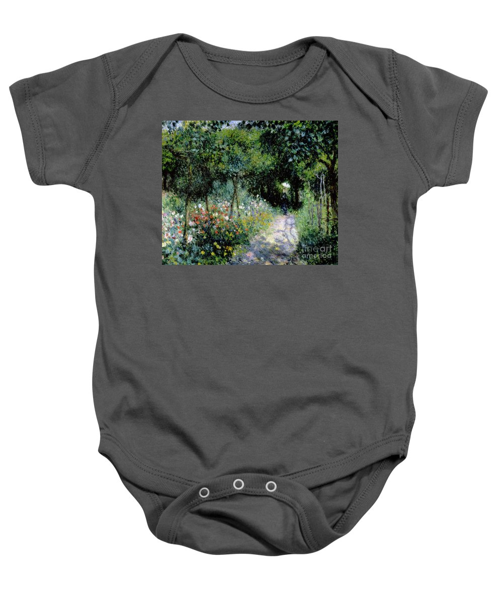 Woman; Lady; Path; Lush; Summer; Wild; Overgrown; Parasol; Female Baby Onesie featuring the painting Woman In A Garden by Pierre Auguste Renoir