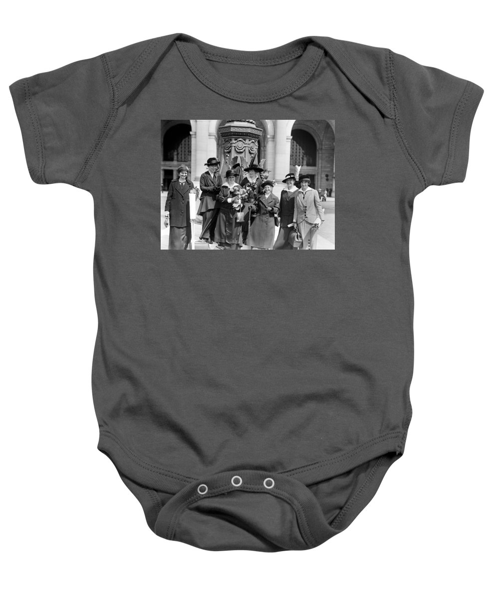womans Suffrage Baby Onesie featuring the photograph Woman Suffrage - Political Campaign Rose Winslow - Lucy Burns - Doris Stevens - Ruth Astor Noyes Etc by International Images