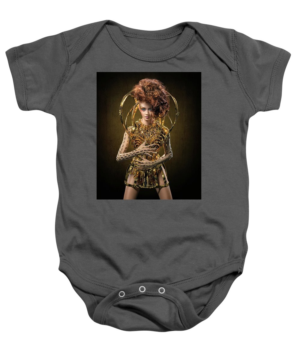 Auburn Baby Onesie featuring the photograph Woman With Messy Curl Updo In Golden Attire by Erich Caparas