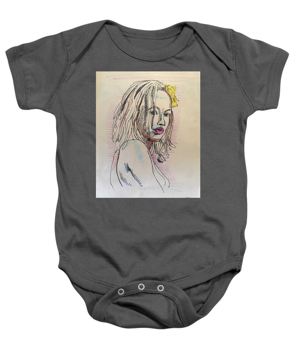 Baby Onesie featuring the drawing Woman With Yellow Flower by Alejandro Lopez-Tasso