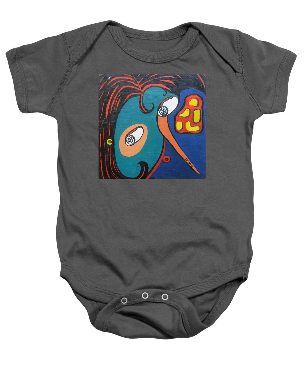 Abstract Paintings Baby Onesie featuring the painting Woman12 by Seon-Jeong Kim
