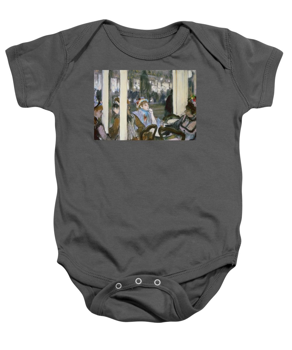 Women On A Cafe Terrace Baby Onesie featuring the pastel Women On A Cafe Terrace by Edgar Degas