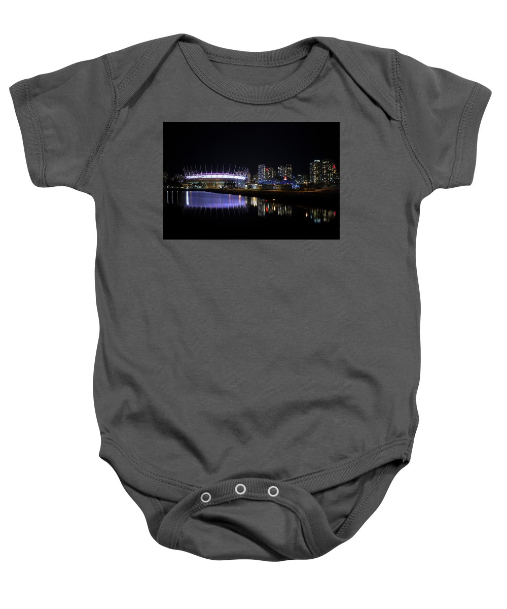Architecture Baby Onesie featuring the photograph Wonderful Night Of False Creek View With Bc Place. by Andrew Kim