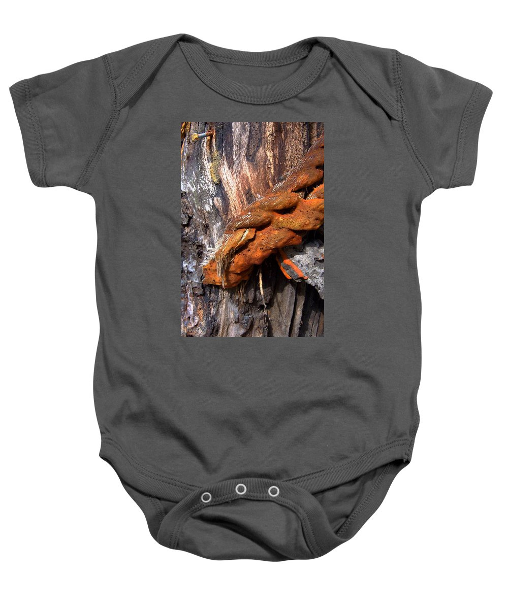 Wood Baby Onesie featuring the photograph Wood And Iron Braid Image by Laurie Paci
