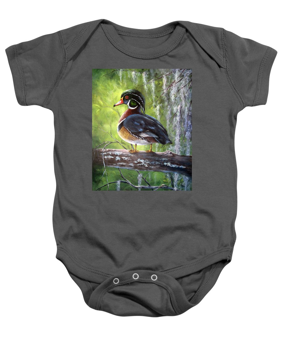 Duck Baby Onesie featuring the painting Wood Duck by Mary McCullah