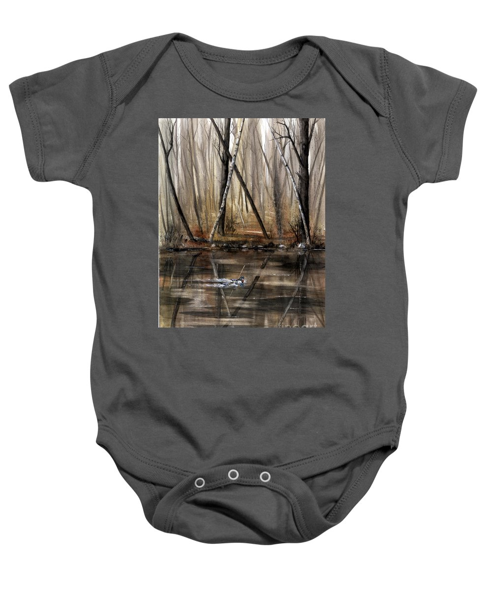 Nature Baby Onesie featuring the painting Wood Duck On Pond by Mary Tuomi