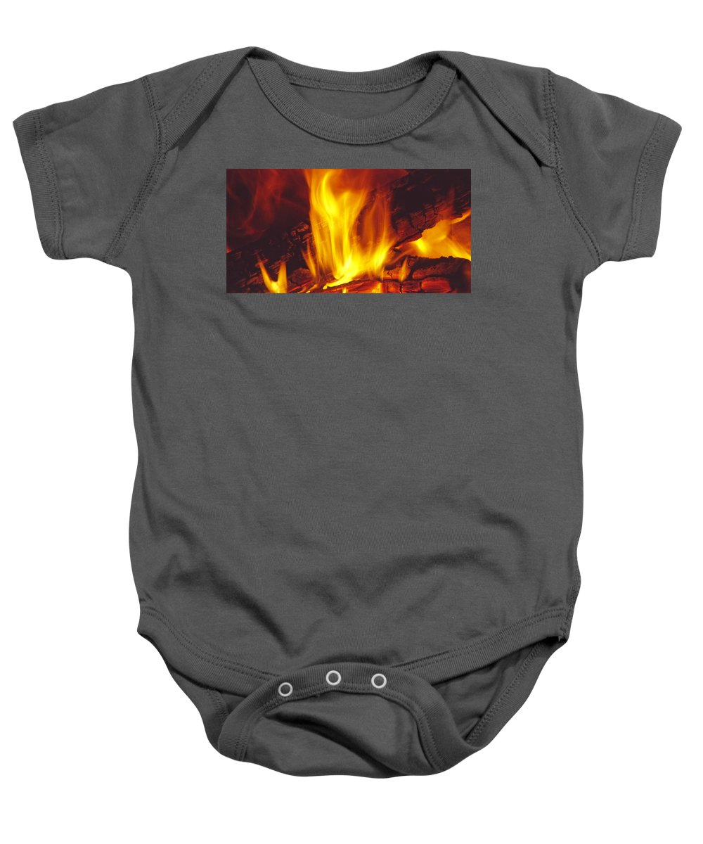Fire Baby Onesie featuring the photograph Wood Stove - Blazing Log Fire by Steve Ohlsen