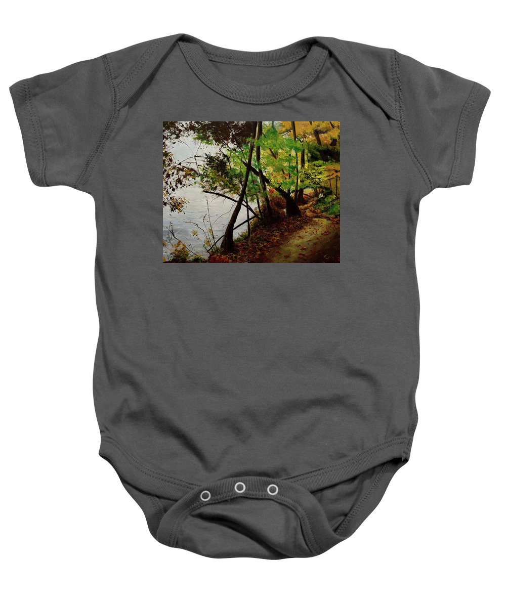 Forest Baby Onesie featuring the painting Wooded Path by Rachel Brisbois