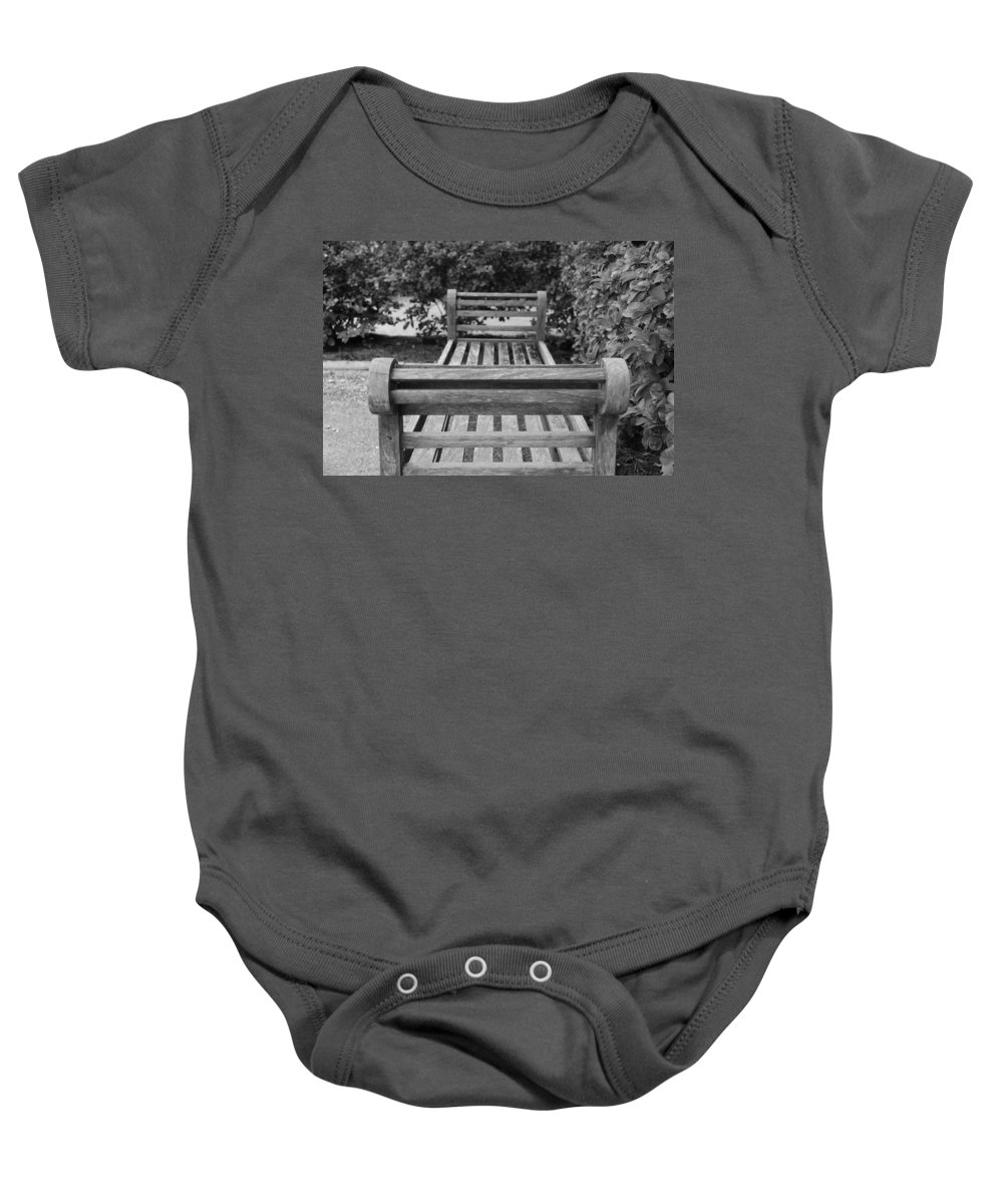 Bushes Baby Onesie featuring the photograph Wooden Bench by Rob Hans