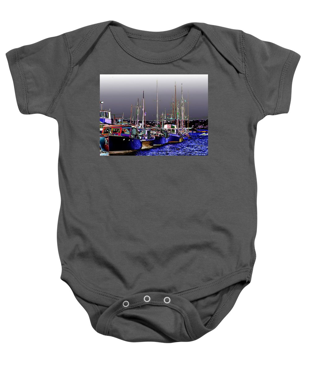 Seattle Baby Onesie featuring the digital art Wooden Boats 2 by Tim Allen
