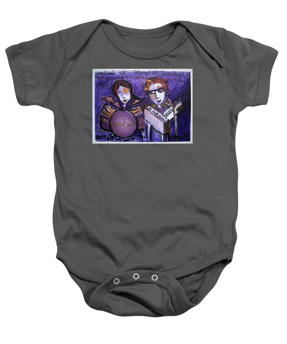 Laurie Maves Art Baby Onesie featuring the painting Woodhands At Monolith by Laurie Maves ART