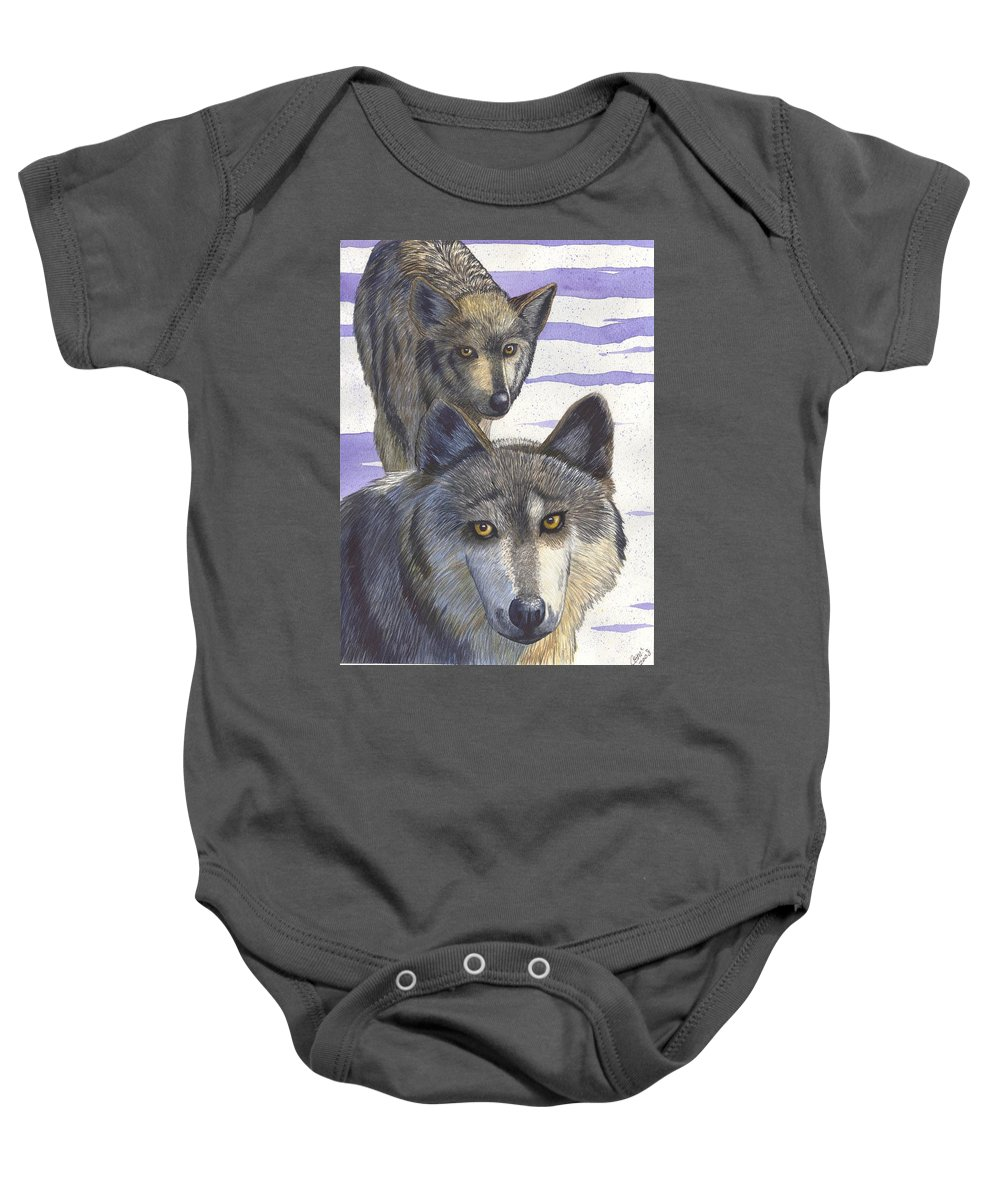 Wolf Baby Onesie featuring the painting Woofies by Catherine G McElroy