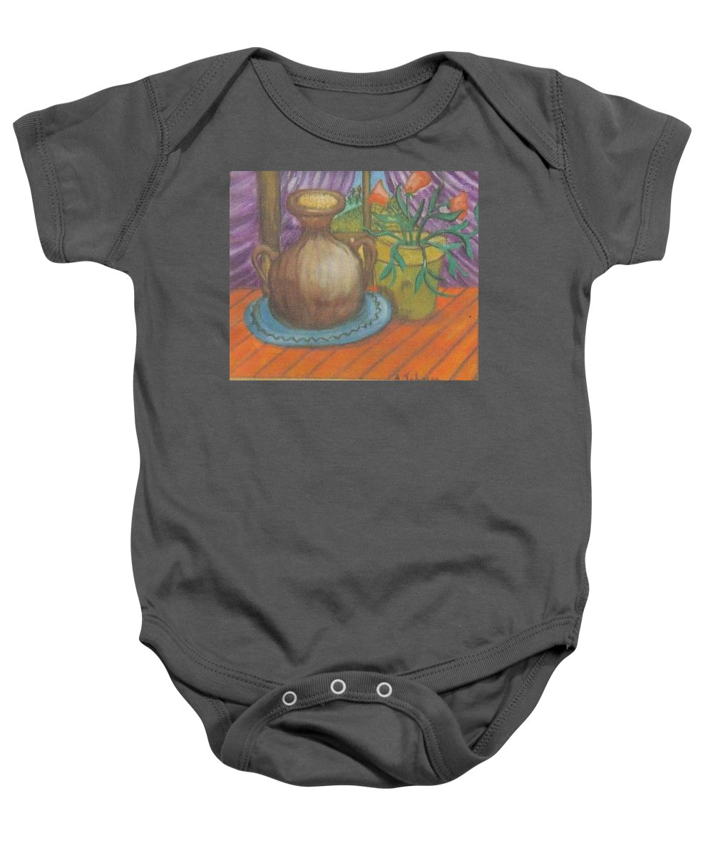 Still Life Baby Onesie featuring the painting Work by Andrew Johnson