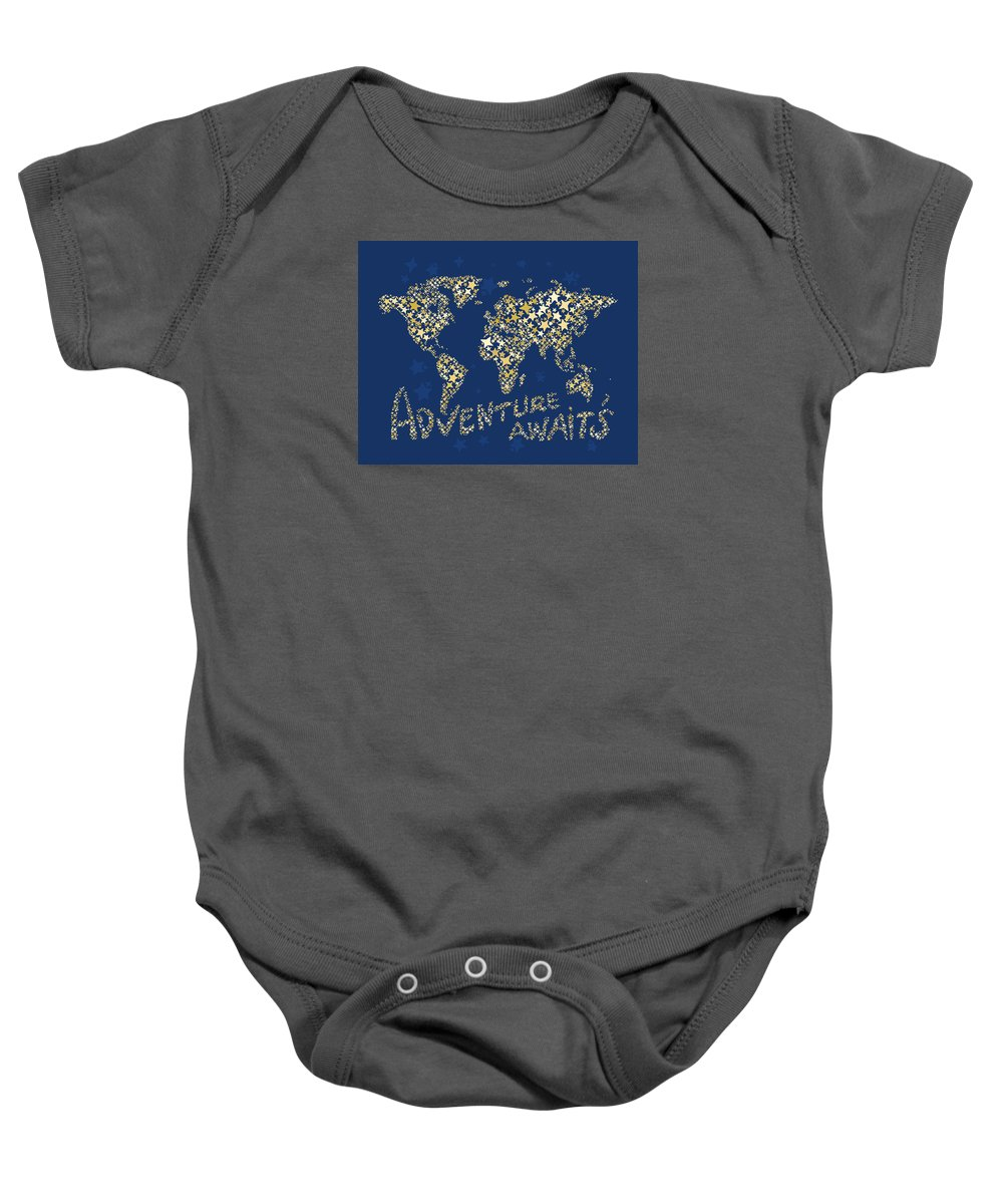 World Map Baby Onesie featuring the digital art World Map Gold Yellow Star Navy Blue by Hieu Tran