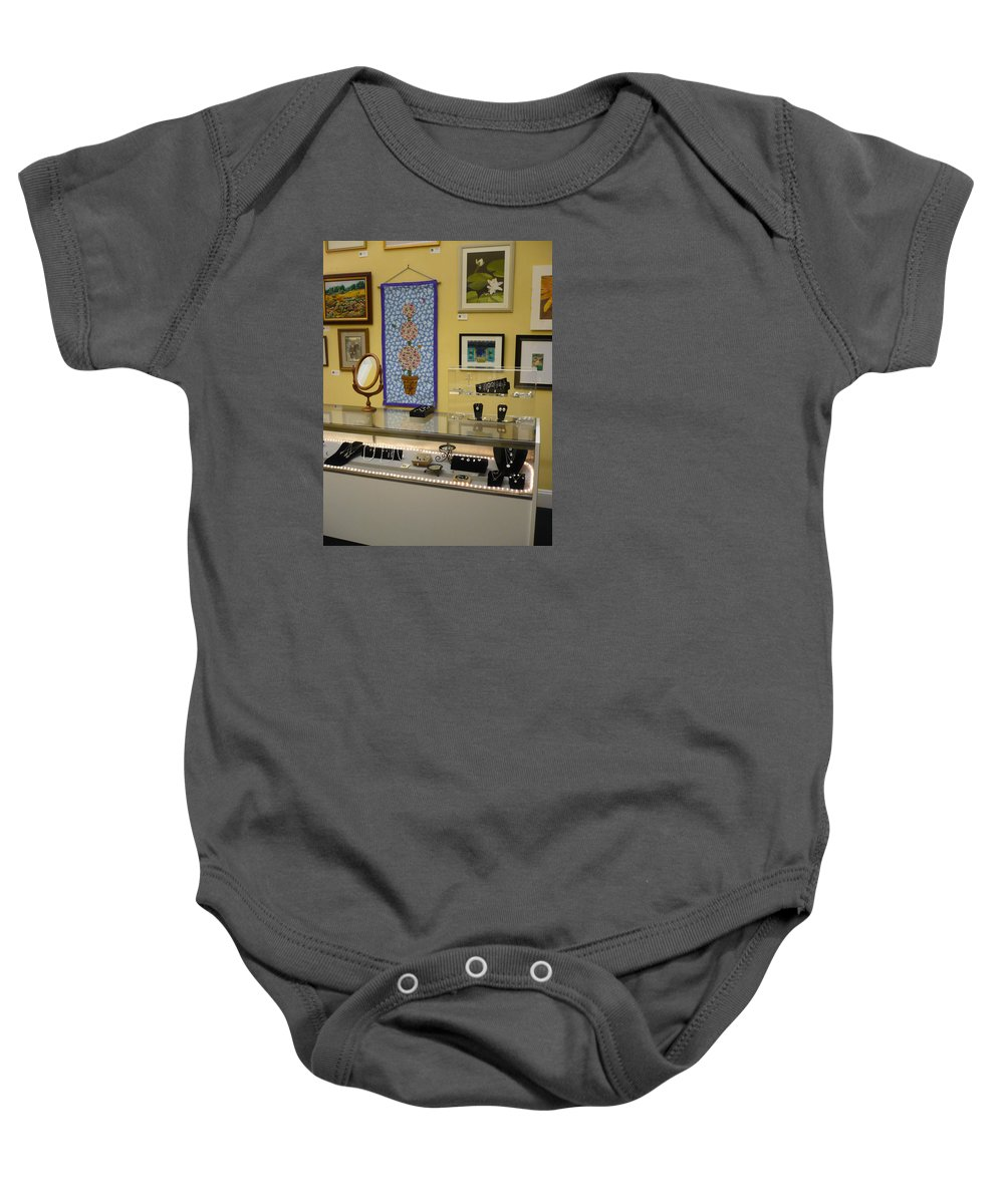 Oil Baby Onesie featuring the painting World-view by Sergey Ignatenko