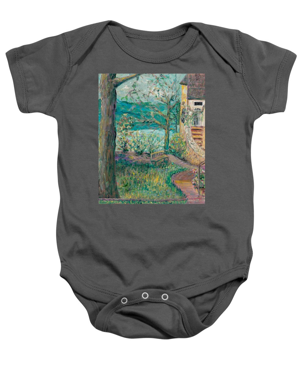 Big Cedar Lodge Baby Onesie featuring the painting Worman House At Big Cedar Lodge by Nadine Rippelmeyer