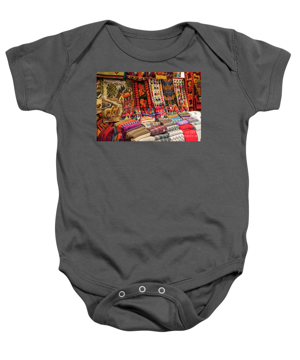 Pisac Market Baby Onesie featuring the photograph Woven Artistry by Bob Phillips