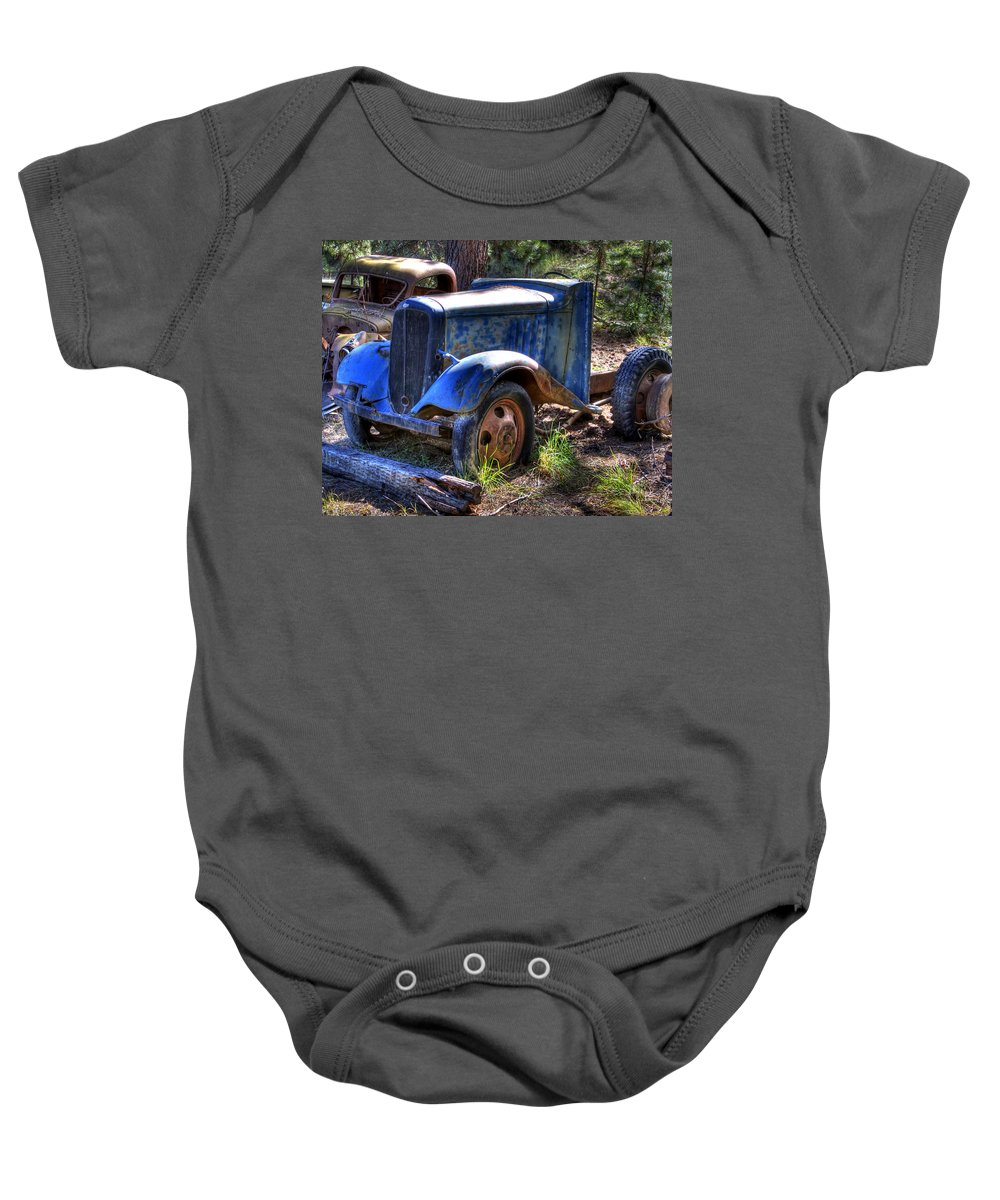 Automotive Baby Onesie featuring the photograph Wrecking Yard Study 15 by Lee Santa