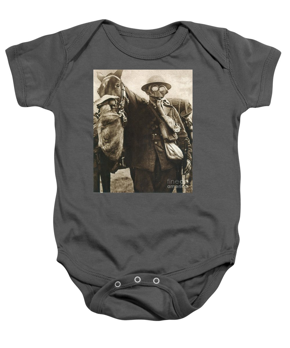20th Century Baby Onesie featuring the photograph Wwi: Gas Warfare by Granger
