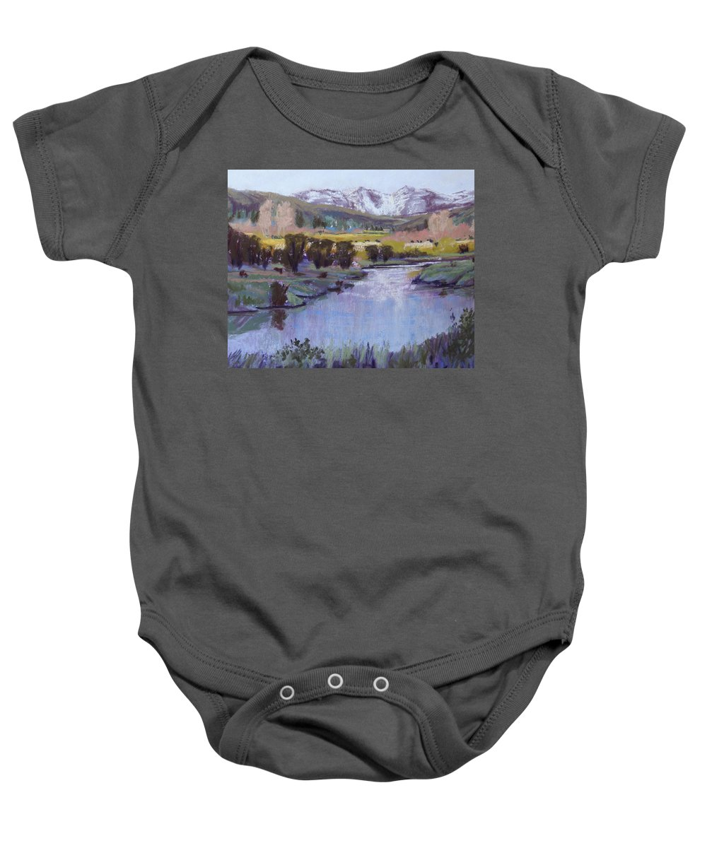 River Baby Onesie featuring the pastel Wyoming River by Heather Coen