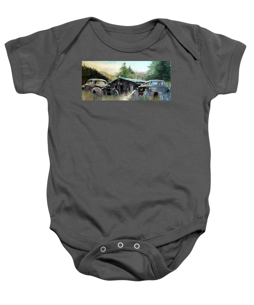 Rusty Cars Baby Onesie featuring the painting Yard Mates by Ron Morrison
