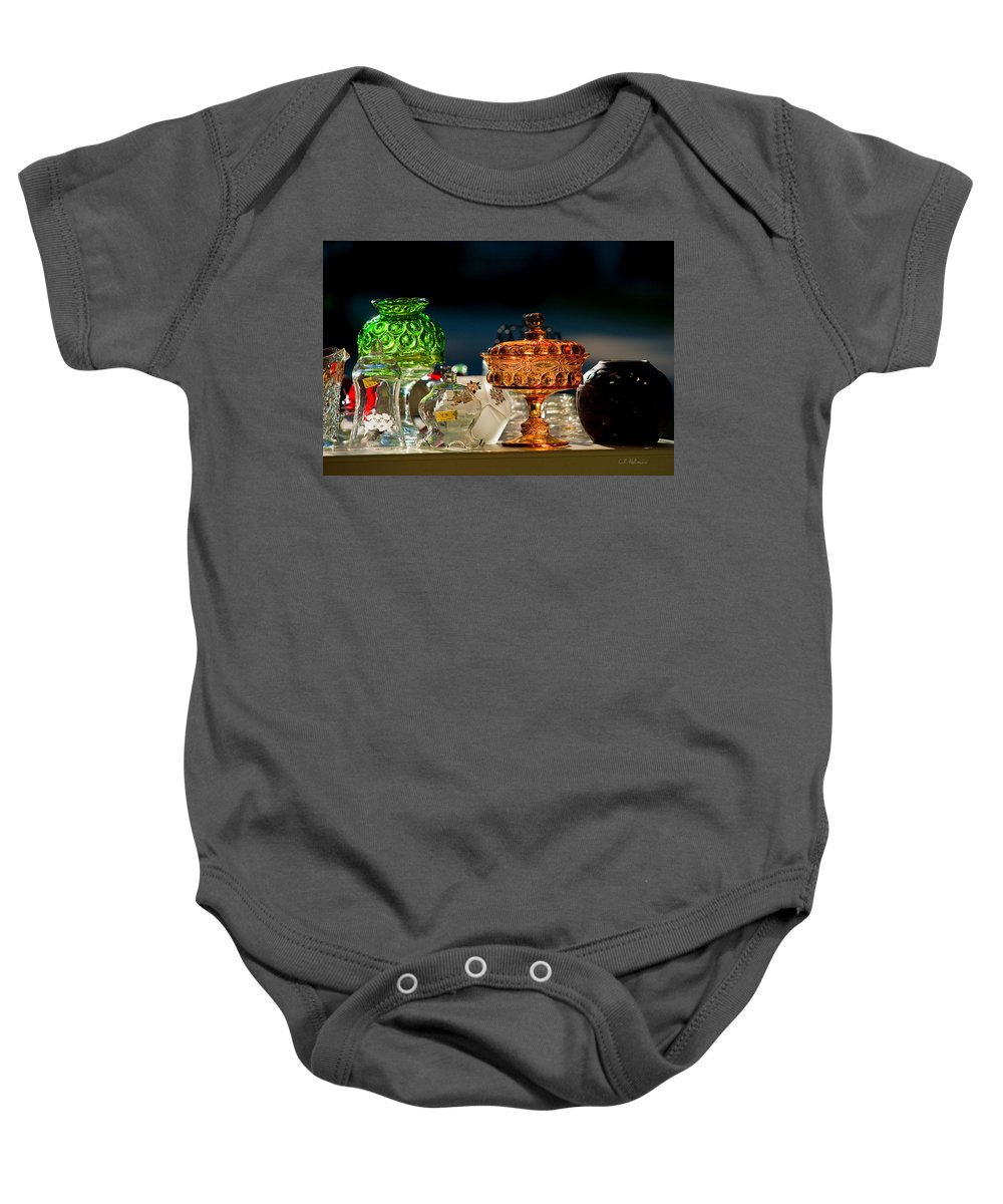Glass Baby Onesie featuring the photograph Yard Sale Treasures by Christopher Holmes