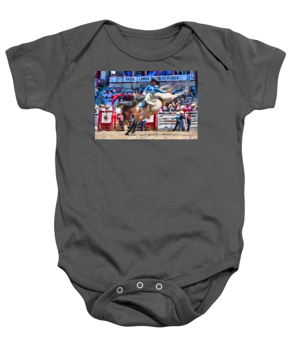 9037a59df Rodeo Baby Onesie featuring the digital art Yee Haw by Barry Moore