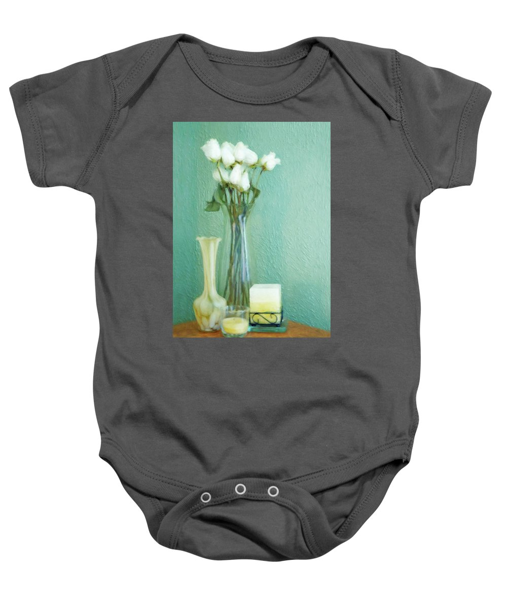 White Baby Onesie featuring the digital art Yellow And Green by JGracey Stinson