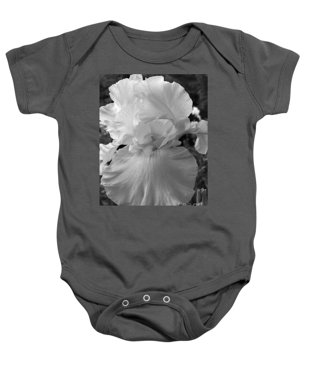 Iris Baby Onesie featuring the photograph Yellow And White Iris In Bw by Kathy McClure
