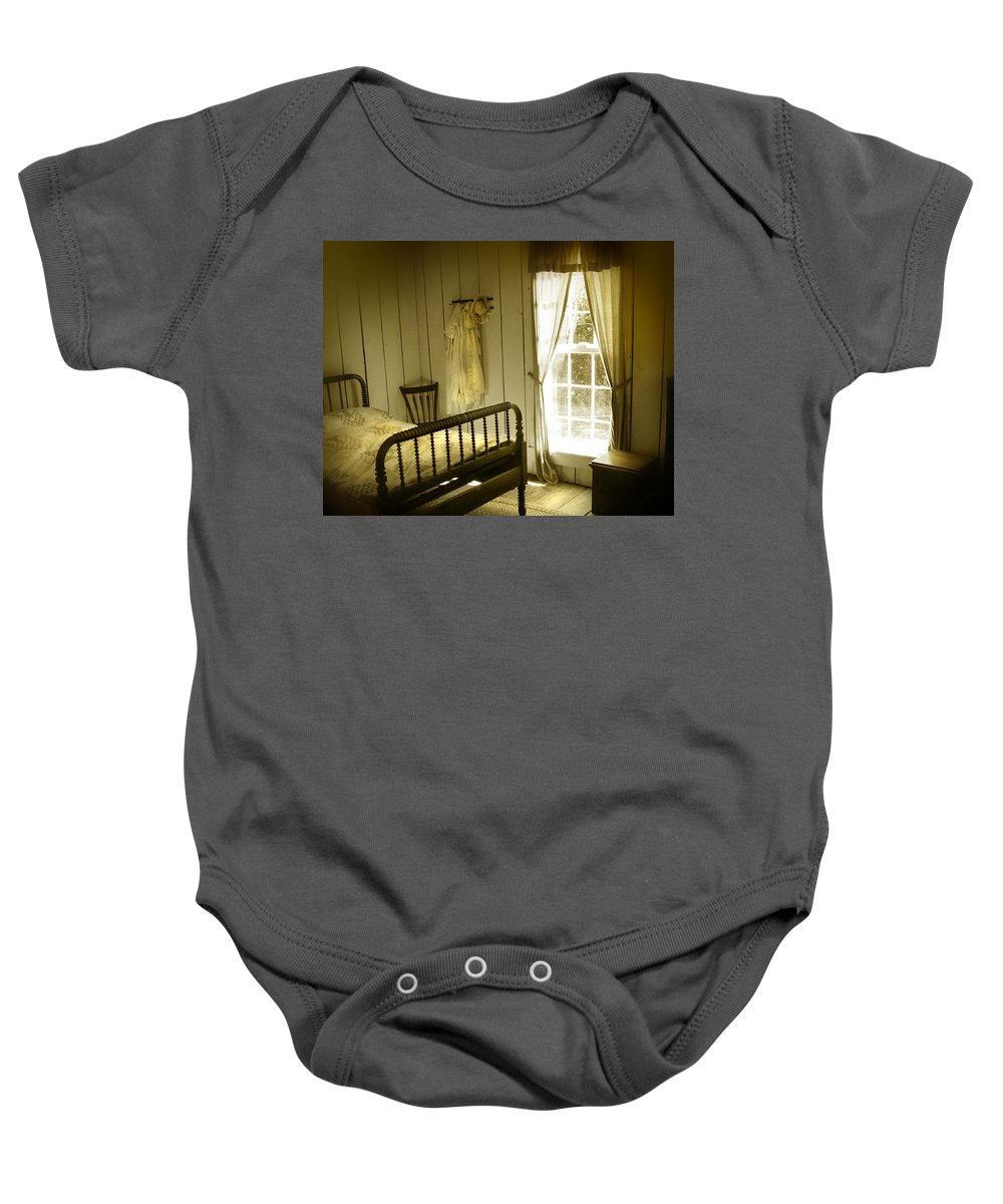 Bedroom Baby Onesie featuring the photograph Yellow Bedroom Light by Mal Bray