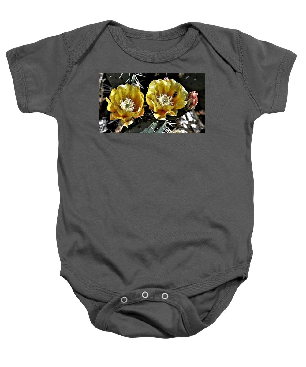 Yellow Cactus Baby Onesie featuring the photograph Yellow Cactus Flowers by Heidi Fickinger