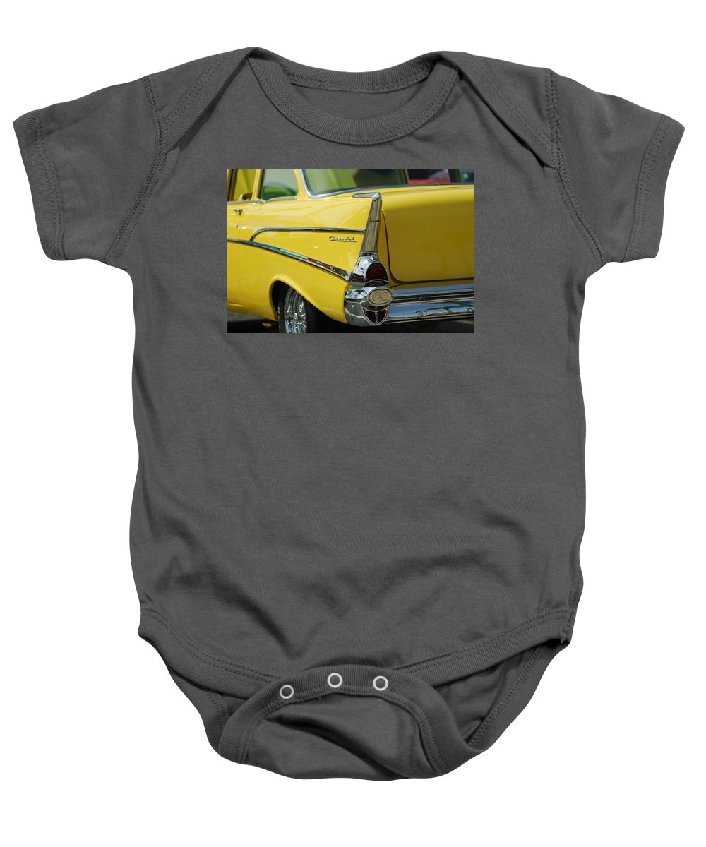 Car Baby Onesie featuring the photograph Yellow Chevrolet Tail Fin by Jill Reger