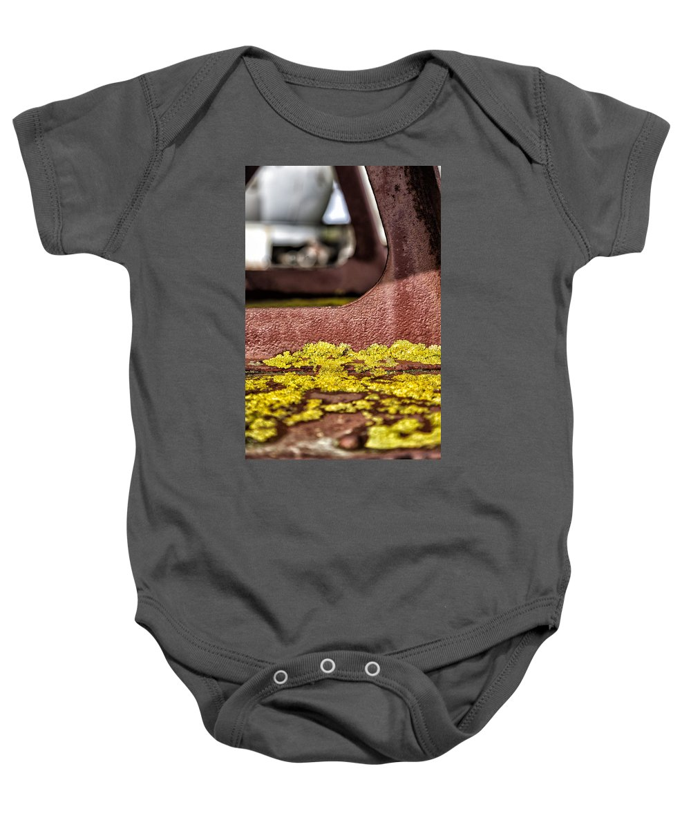 Abstract Baby Onesie featuring the photograph Yellow Lichen by Russ Dixon