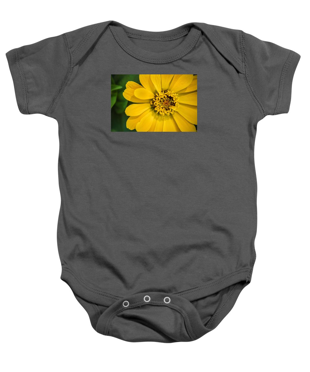Flower Baby Onesie featuring the photograph Yellow Monastery Zinnia by Don Johnson