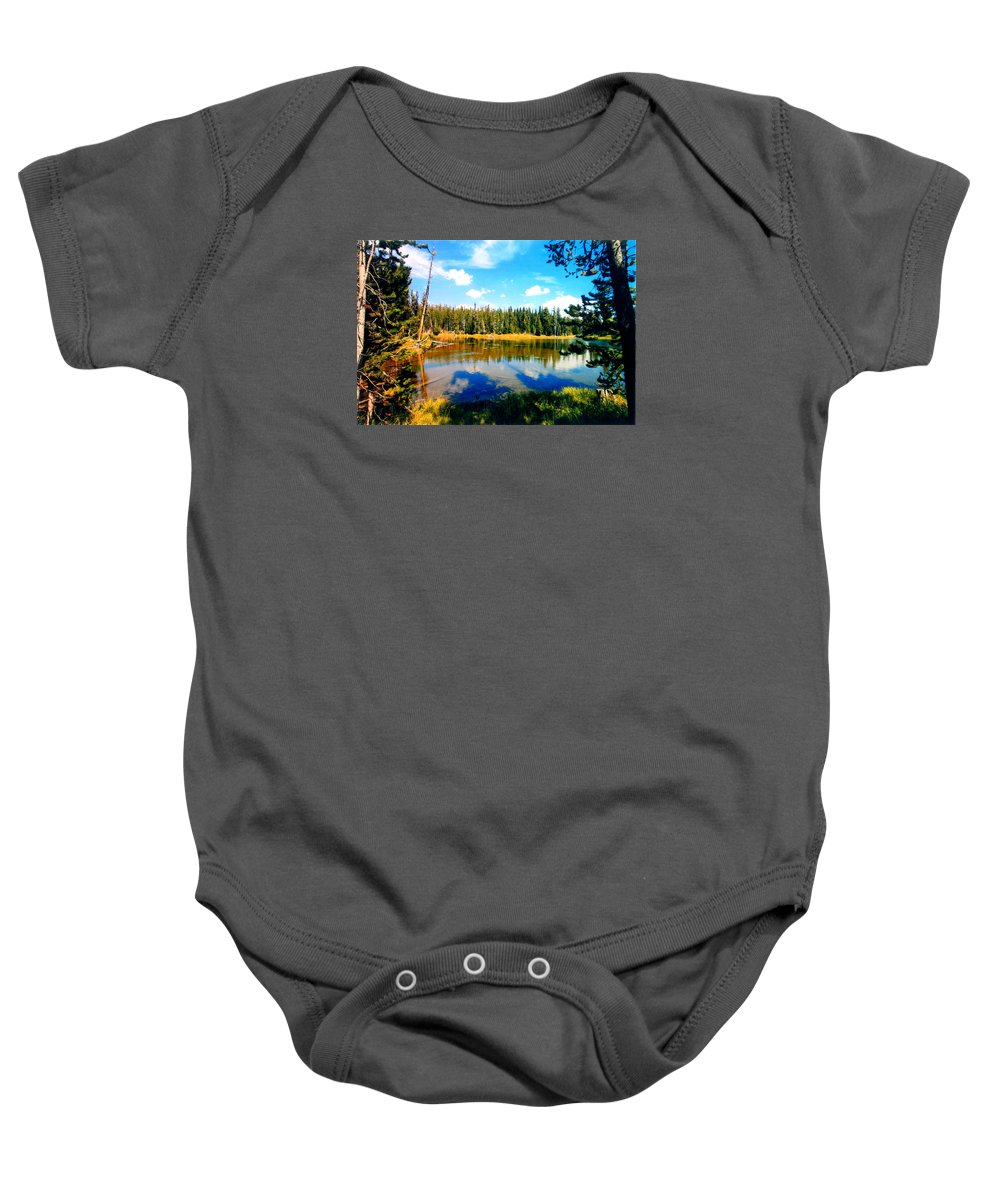 Mirror Image Baby Onesie featuring the photograph Yellowstone Lake In Summer by Rusty Ruckel