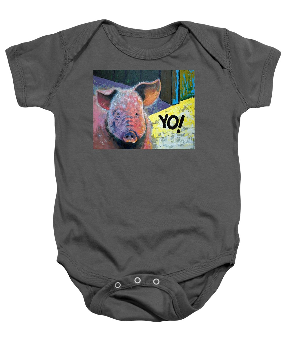 Painting Baby Onesie featuring the painting Yo Pig by Suzanne McKee