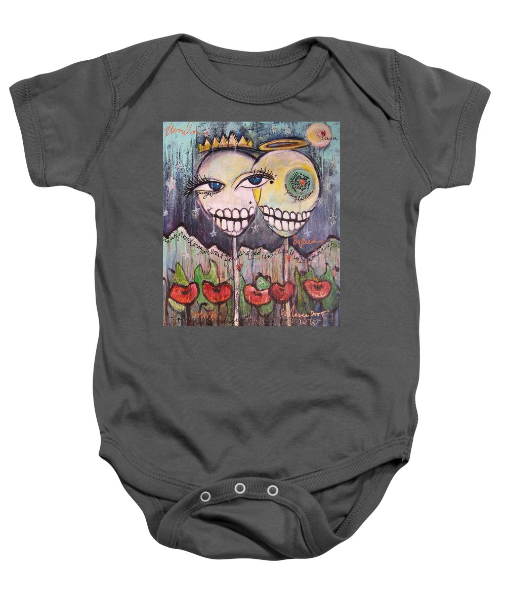 Skull Heads Baby Onesie featuring the painting Yo Soy La Luna by Laurie Maves ART