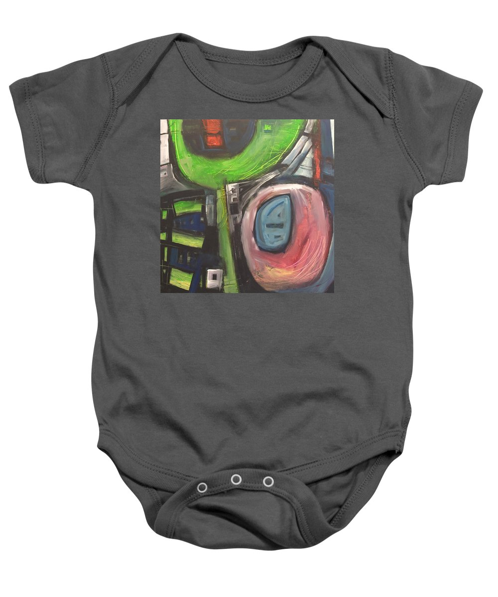 Abstract Baby Onesie featuring the painting YO by Tim Nyberg