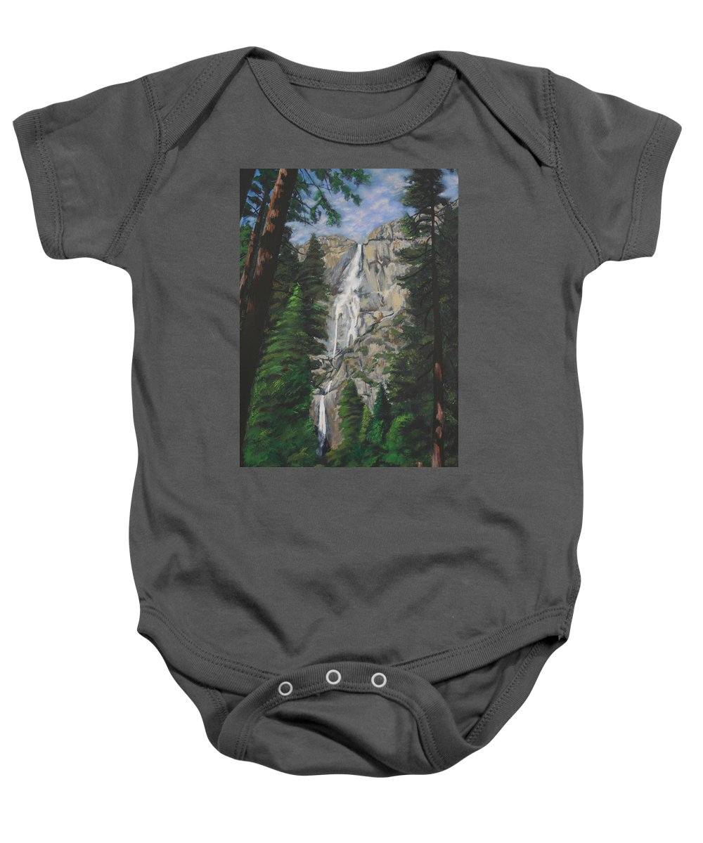 Landscape Baby Onesie featuring the painting Yosemite Falls by Travis Day