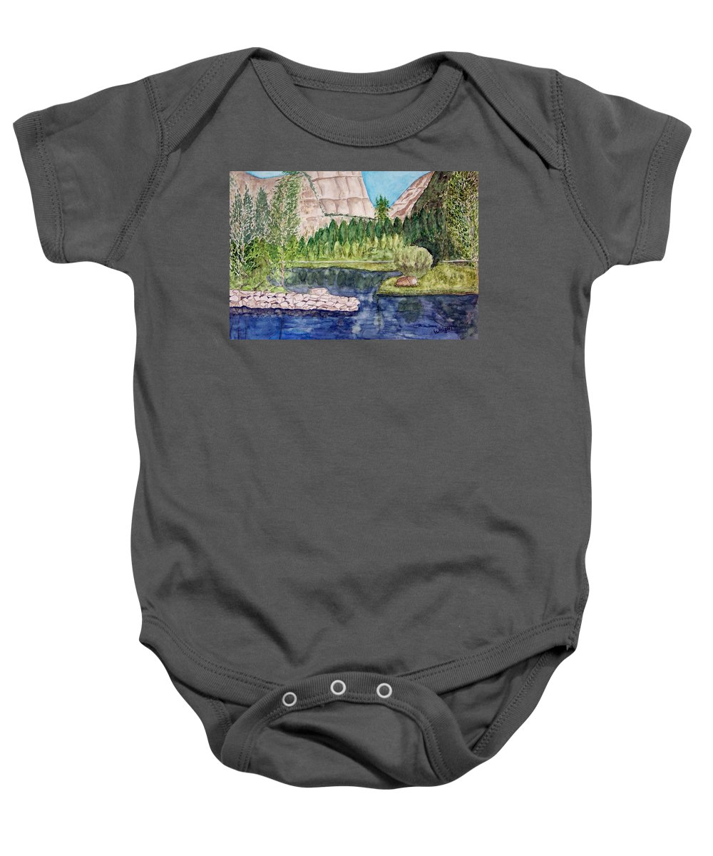 Yosemite National Park Baby Onesie featuring the painting Yosemite by Larry Wright