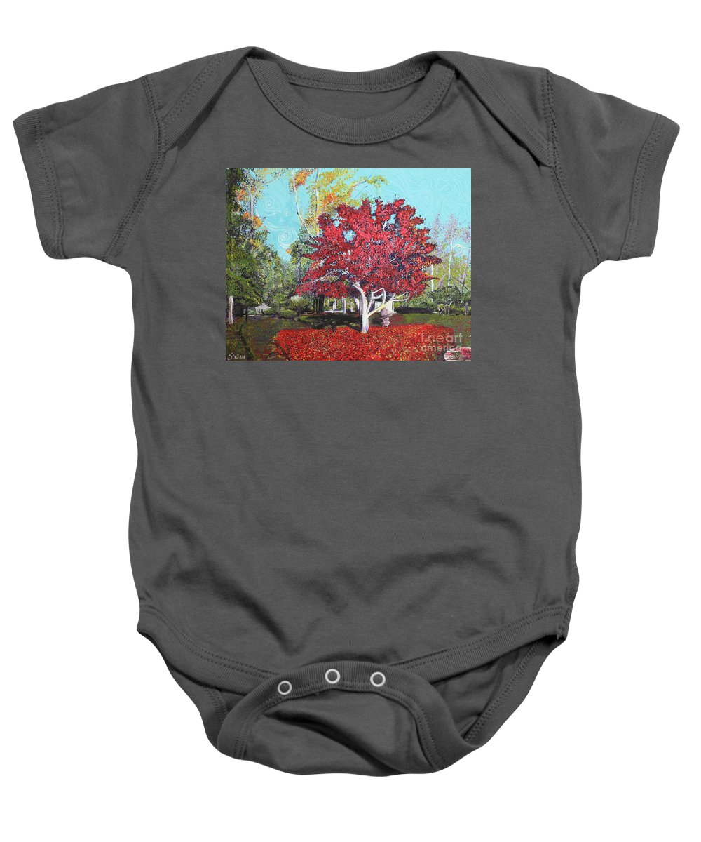 Tree Baby Onesie featuring the painting You Are My Heart by Stefan Duncan