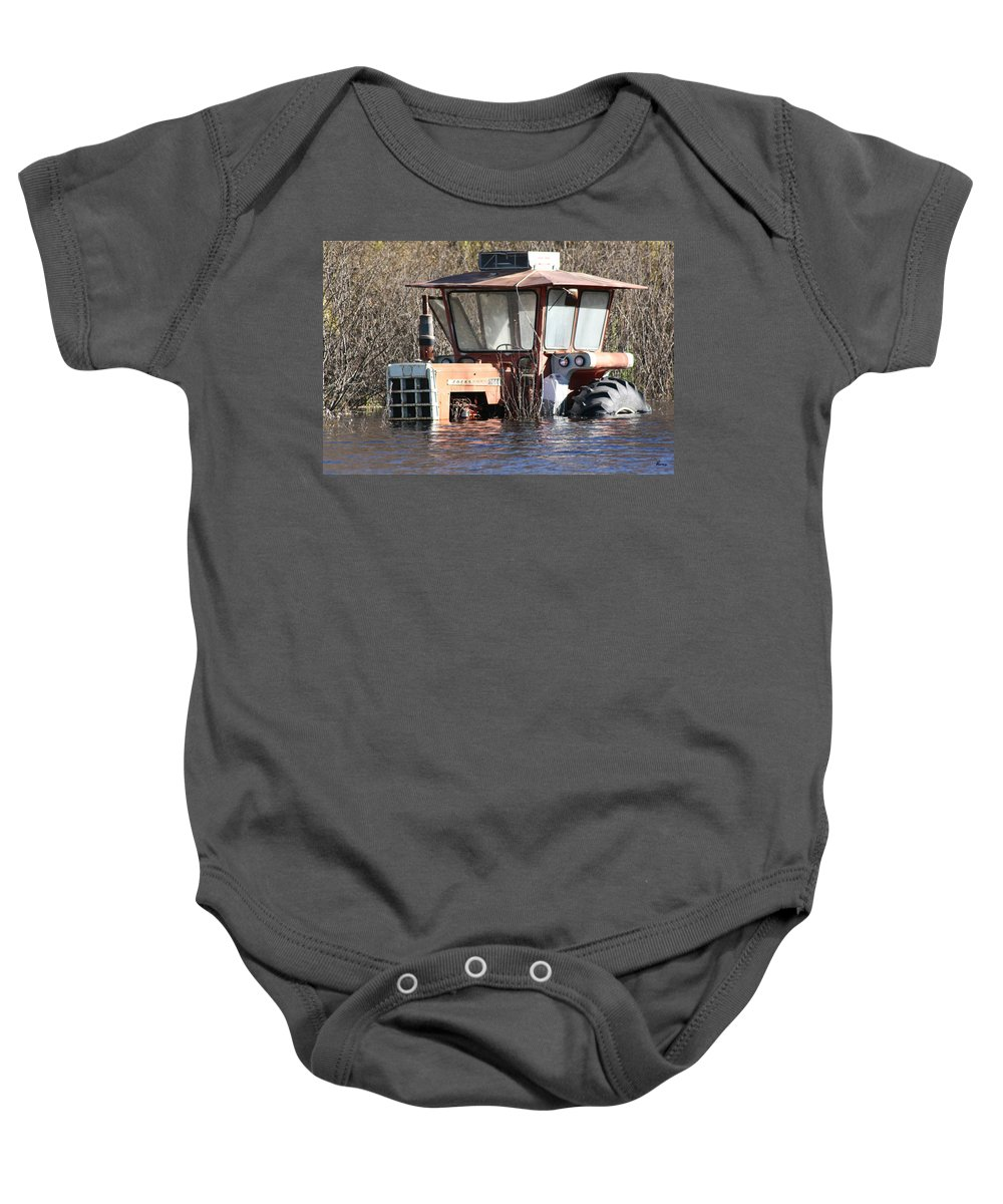 Flood Regina Sk Canada Flooding Flooded Farm Tractor Trees Grass Wrecked Loss Baby Onesie featuring the photograph You Go Get The Tractor by Andrea Lawrence