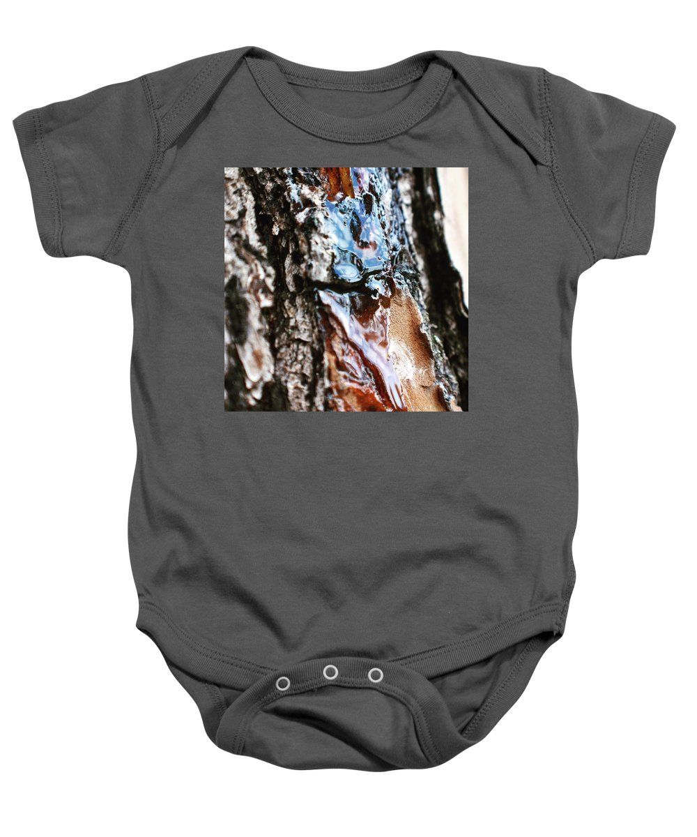 Pine Baby Onesie featuring the photograph You Sap by Ishtar Stillmank