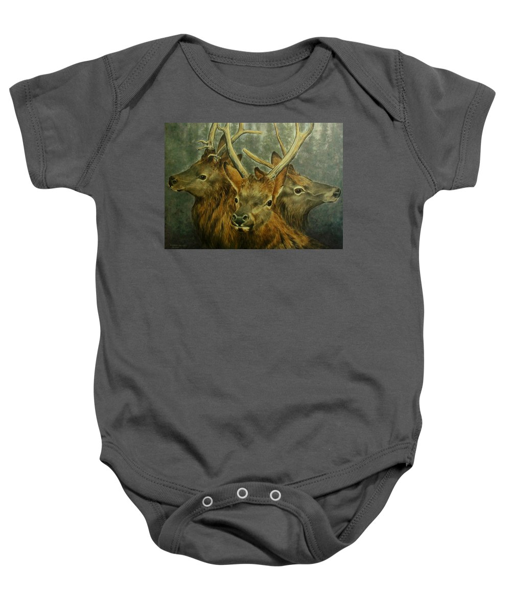 Elk Baby Onesie featuring the painting Young Elk Trio- Wapiti by Elaine Booth-Kallweit