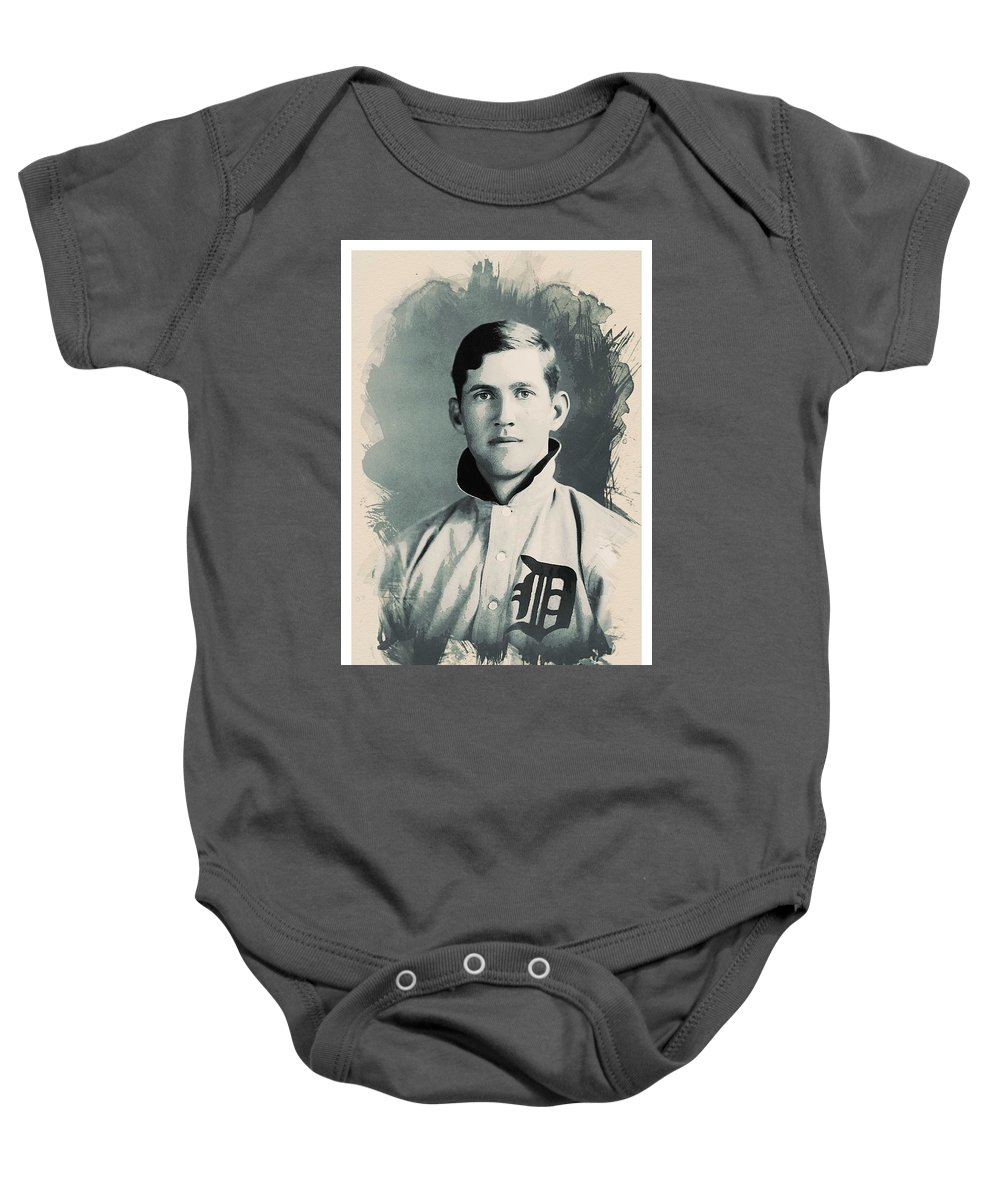 Man Baby Onesie featuring the painting Young Faces From The Past Series By Adam Asar, No 78 by Adam Asar