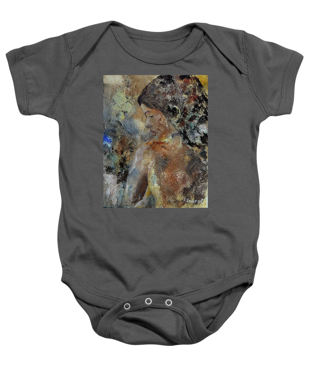 Girl Baby Onesie featuring the painting Young Girl 45156987 by Pol Ledent