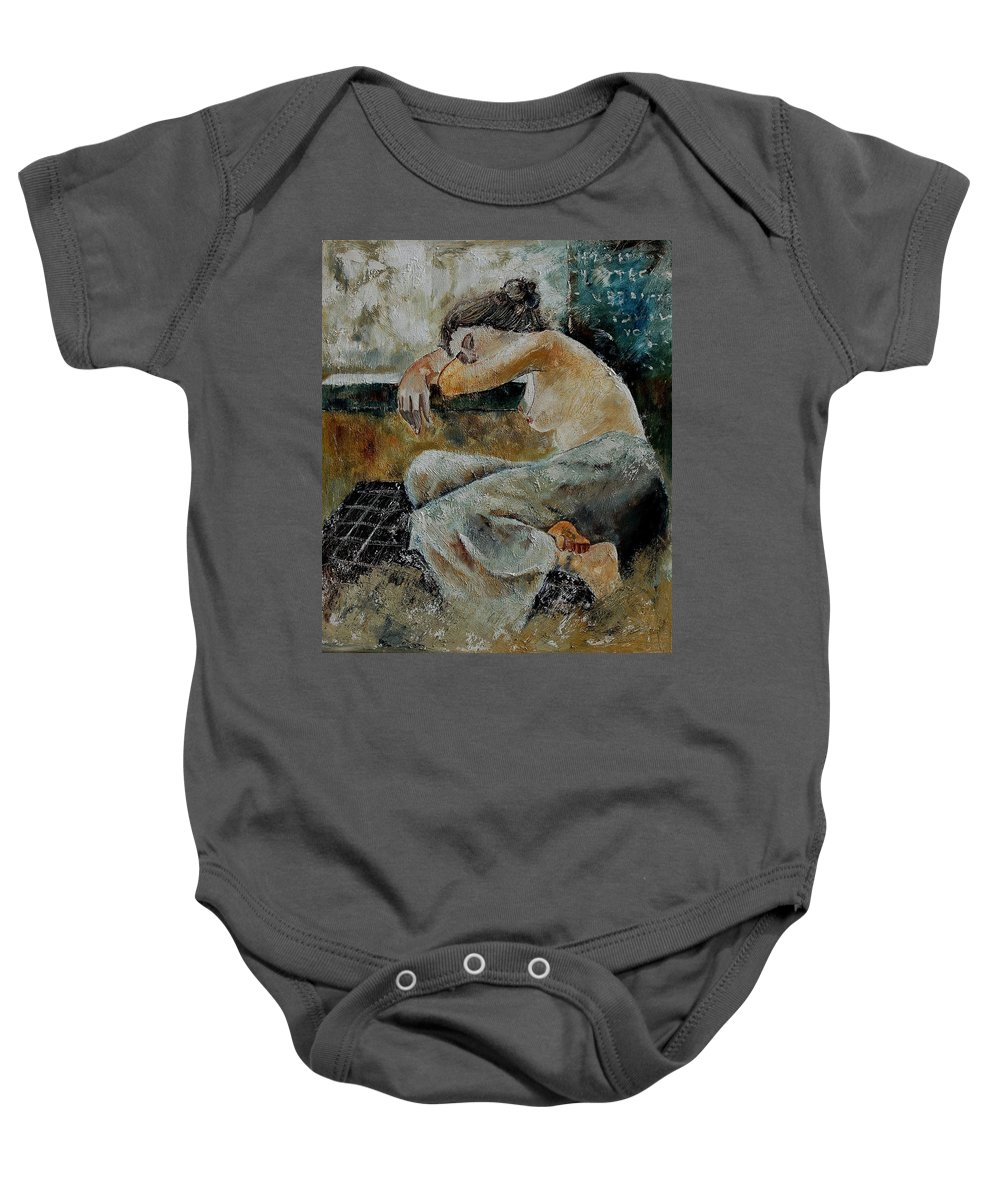 Girl Baby Onesie featuring the painting Young Girl 679050 by Pol Ledent
